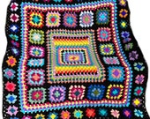 Crochet blanket, crochet afghan, granny square blanket, kaleidoscope rainbow, groovy hippie funky,  MADE TO ORDER