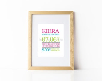 8 x 10 Nursery Print - Baby Art, Children Decor, Baby Shower Gift, Custom Birth Announcement