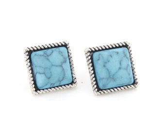 Simple Tiny Silver-tone Square Turquoise Stone Stud EARRINGS,G6