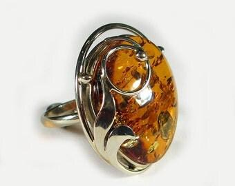 Natural Baltic amber ring.