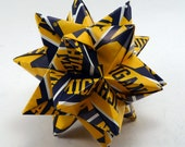 Medium Origami Star Made With Licensed University of Michigan Paper, Michigan Wolverines Ornament, Michigan Decoration