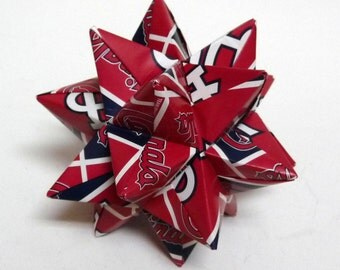 Medium Origami Star Made From Licensed St. Louis Cardinals Paper, Cardinals Star, St. Louis Baseball Ornament, Cardinals Decoration