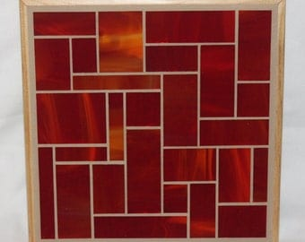 Red stained glass mosaic trivet