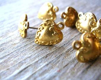 Post Earring Findings - Jewelry Making - Brass Earring Posts - Earring Findings - Spades