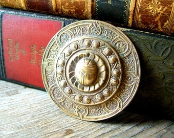 Egyptian Revival Medallion - Scarab Beetle Stamping - Large Brass Stamping - Patina Brass