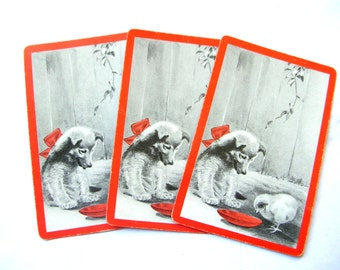 Puppy Swap Cards - Vintage Playing Cards - Dog Playing Cards - Trading Cards - Chick Cards