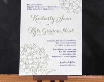 Hydrangea Letterpress Wedding Invitations - Deposit