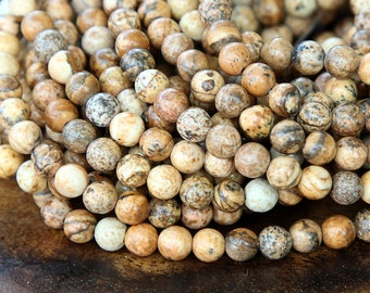 Picture Jasper Beads, 4mm Round - 15 inch strand - eGR-JA008-4