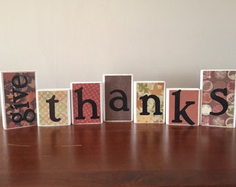 REVERSIBLE !!!  Give Thanks and Believe / Believe blocks / Give Thanks blocks / Home decor / Thanksgiving / Christmas / Mantel Decor