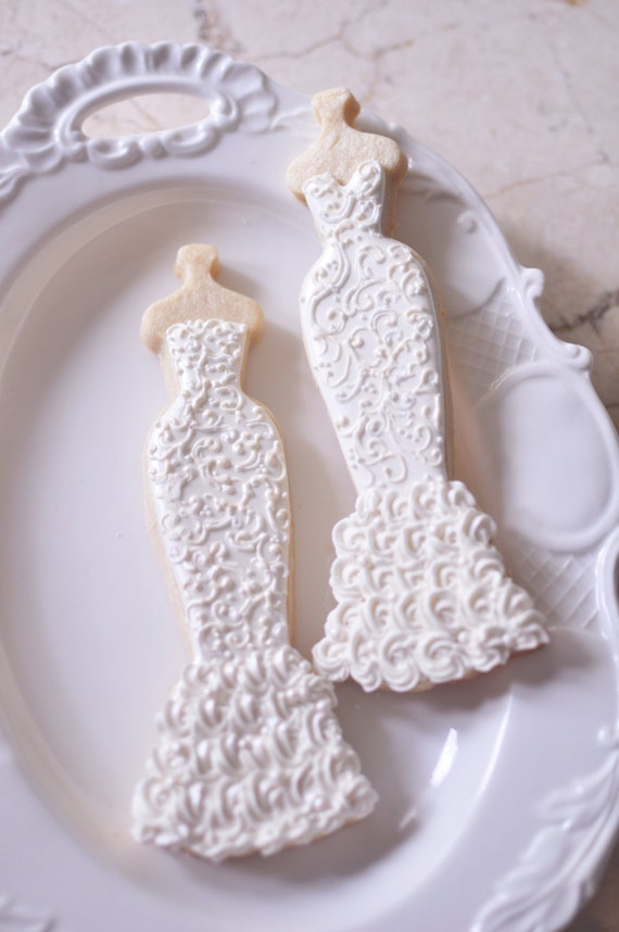 Items similar to 10 mermaid gown cookies lace wedding for Wedding dress cookie cutters