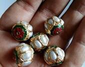 Meenakari round bead with pearls, Indian beads x 5, 14mm