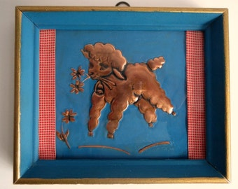 Cute Copper Lamb / Vintage Nursery Wall Hanging / Embossed or Tooled Copper / Framed