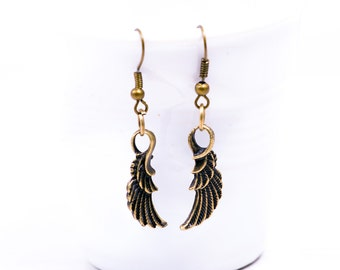 Wings Antiqued  Bronze Earrings, Boho earrings, Bohemian jewelry, Hippie jewelry, Steampunk, Wing earrings,  Boho Style, Hippie Earrings