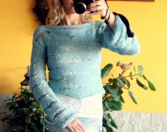 Vegan Sweater, Boho Sweater, Womens Sweater, Hand Knit Sweater, Gift for Vegan