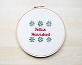 Feliz Navidad Cross Stitch embroidery pattern, Cross Stitch Pattern, Christmas Pattern, Embroidery Pattern -PDF Instant Download