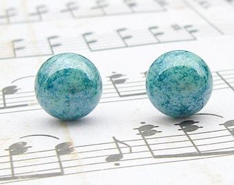 Marbled Green Drop post earrings