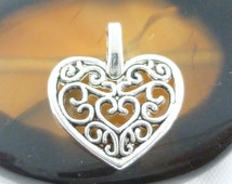 Intricate Detailed Silver Filigree Heart Charms (6)- S103