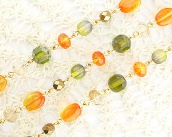 Tropical Paradise Beadlinx Beaded Gold Plated Chain Rosary, Genuine Czech Glass Beads
