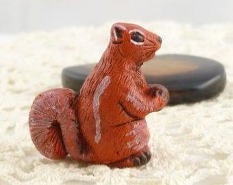 Peruvian Hand Painted Ceramic Red Squirrel Pendant Beads (1)