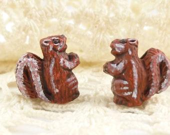 Peruvian Hand Painted Ceramic Chipmunk Squirrel Pendant Beads (2)