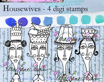 Quirky and whimsical lady digi images for any occassion, journaling and paper craft available for instant download.