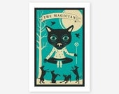 TAROT CARD CAT, Modern Wall art for the home decor, Giclee Fine Art Print by Jazzberry Blue