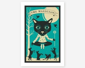 TAROT CARD CAT, Modern Wall art for the home decor, Giclee Fine Art Print by Jazzberry Blue