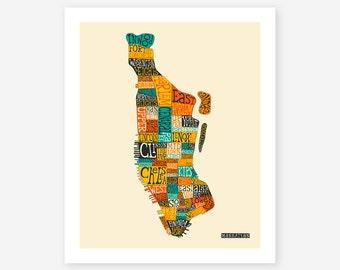 Typographic MANHATTAN Map with Neighborhoods, Giclee Fine Art Print, Modern Wall Art for the Home Decor