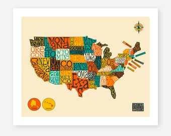 UNITED STATES MAP, Giclée Fine Art Print, Modern Typographic Wall Art for the Home Decor