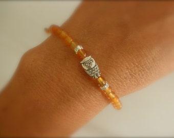 Tiny owl carnelian  bracelet
