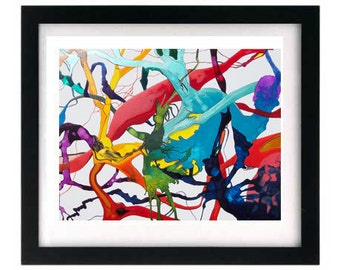 11 x 8.5 Signed & Numbered Print, Pen Ink Organic Doodle Painting