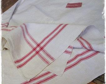 Table cloth, antique linen, handwoven