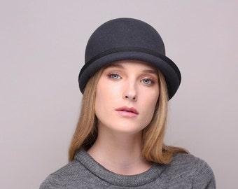 Beanie hat, men felt hat, Women felt hat, Millinery, winter autumn handmade felt hat, black hat,