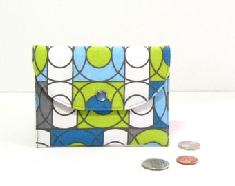 Small green wallet, lime green wallet, geometric print wallet, blue zipper coin purse, green cardholder, green gift card holder, mini wallet