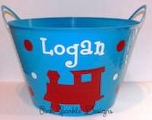 Kids Bucket Basket - Train - Personalized