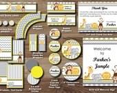 Jungle Animal Party Package - Safari Birthday Party Pack - Zoo Elephant Monkey Lion Giraffe Animals 1st Chevron Stripe - Boy Girl PRINTABLE