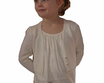 Knit cardigan for flower girls and communion