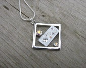 JEWELRY SALE-Silver, White, and Crystal Diamond-Shaped Necklace