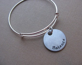 "SALE- Hand-Stamped Bangle Bracelet- ""Balance""- ONLY 1 Available"