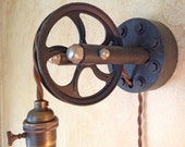 Vintage Industrial Large Pulley Sconce Lamp. Plug in.