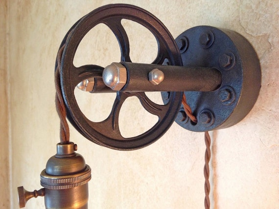 Vintage Industrial Large Pulley Sconce Lamp. Plug In