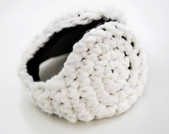 Birthday Gift Girl Earmuff -White Wool Winter Fashion