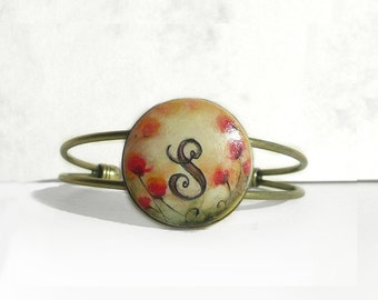 Hand Painted Artistic Bracelet, Personalized Bracelet, Small Original Poppy Painting, Initial Bracelet, Letter Art, Handmade Jewelry
