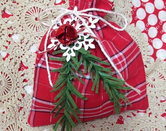 Christmas fabric gift bag with ornament