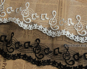 Black White Embroidery Lace Trim Bridal  Lace Music Notes Lace Cotton Embroidery- width 8.5-11cm, 2 yard