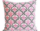 Decorative pillow cover One damask hot pink, black, and ivory white Madison cushion cover pillow sham nursery teen decor