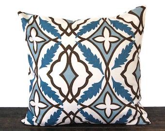 Throw pillow cover One blue natural chocolate brown cushion cover pillow sham