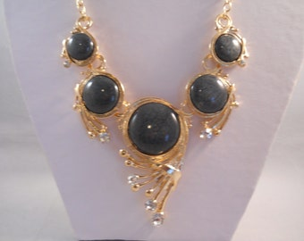 SALE Bib Necklace with Gold Tone, Clear Rhinestones and Smoky Grey Pendants on a Gold Tone Chain