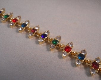 Gold Tone Link Bracelet with Clear and Multi Color Rhinestone beads