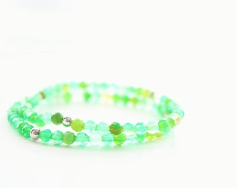 Two Green Agate Sterling Silver Beaded Stretch Bracelets